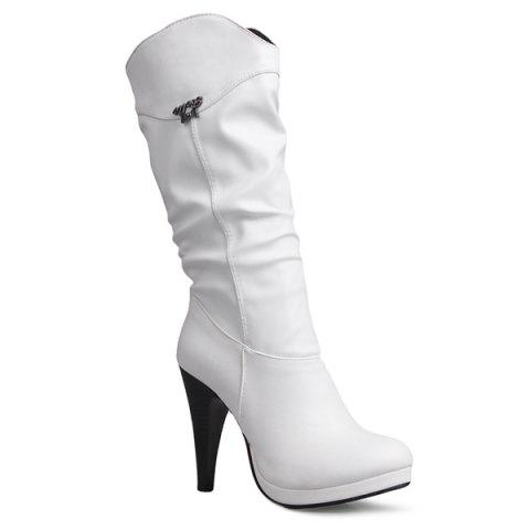 High Heel Ruched Mid Calf Boots - White - 38