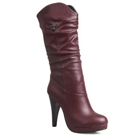 Outfits High Heel Ruched Mid Calf Boots WINE RED 40