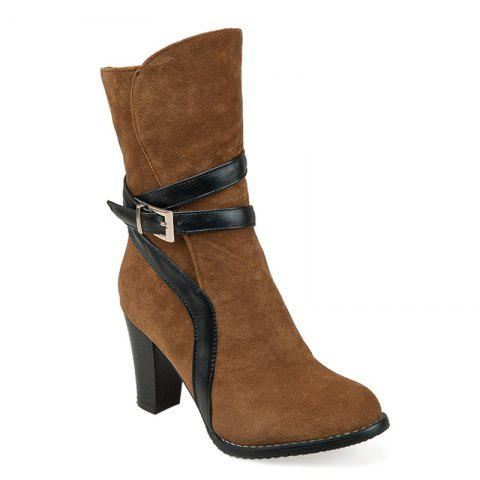 New Suede Chunky Heel Ankle Boots