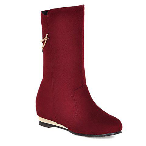 Trendy Slip On Increased Internal Suede Mid Calf Boots RED 40
