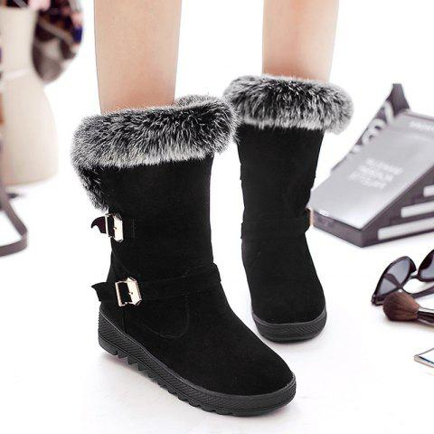 Cheap Buckle Embellished Fur Ankle Boots BLACK 37