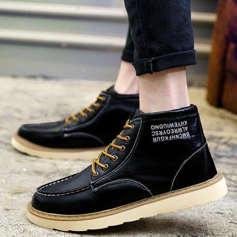 Stitching Letter Print Lace Up High Top Boots - Black - 43
