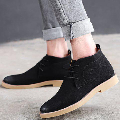 Cheap Lace Up Pointed Toe Casual Shoes - 43 BLACK Mobile