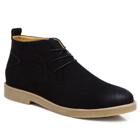 Lace Up Pointed Toe Casual Shoes - BLACK 43