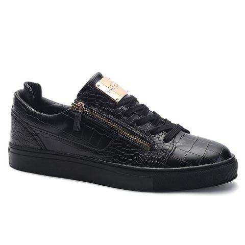 Round Toe Zip Embellished Crocodile Embossed Casual Shoes - Black - 40