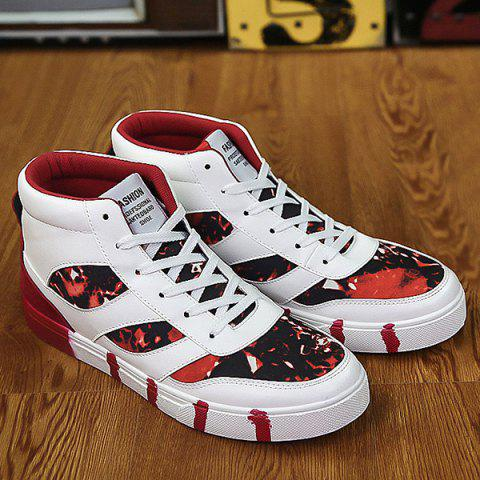 Shops Tie Up Color Block Spliced High Top Skate Shoes RED 44