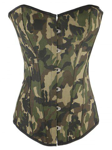 Camo Lace Up Steel Boned Strapless Corset Top - Camouflage - S