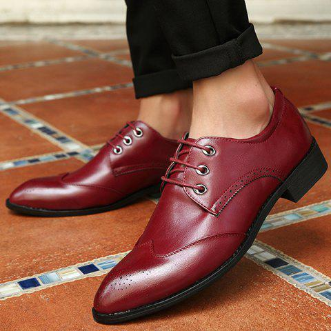 Affordable Pointed Toe Tie Up Engraving Formal Shoes - 43 RED Mobile