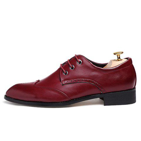 Latest Pointed Toe Tie Up Engraving Formal Shoes - 40 RED Mobile