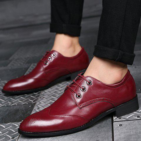 Sale Pointed Toe Tie Up Engraving Formal Shoes - 40 RED Mobile
