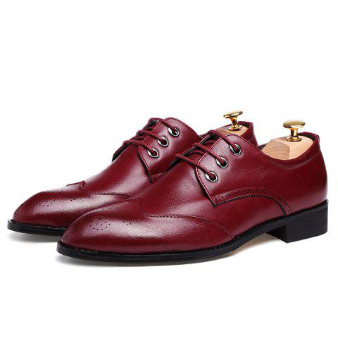 Online Pointed Toe Tie Up Engraving Formal Shoes - 40 RED Mobile