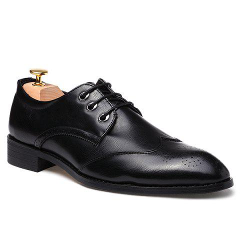 Pointed Toe Tie Up Engraving Formal Shoes