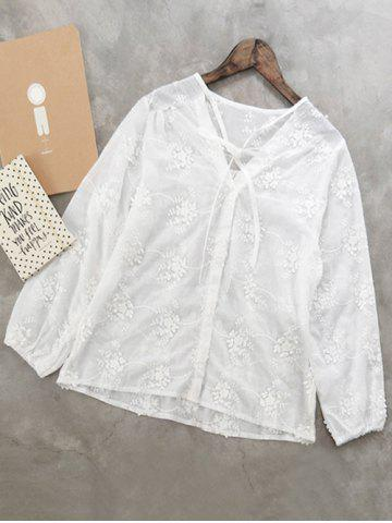 Store V Neck Floral Embroidered Shirt