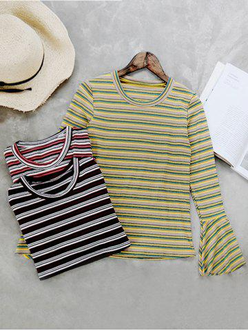 Unique Round Neck Flare Sleeve Striped Knitwear