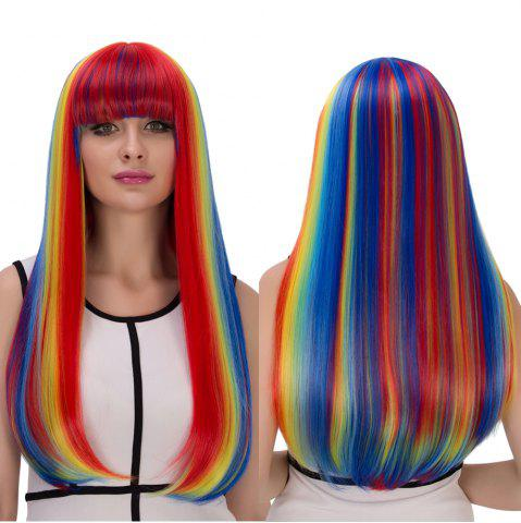 Chic Rainbow Color Long Full Bang Tail Adduction Cosplay Synthetic Wig COLORMIX