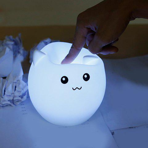 Pig Cartoon Silica Gel LED Colorful Ombre Night Light Blanc