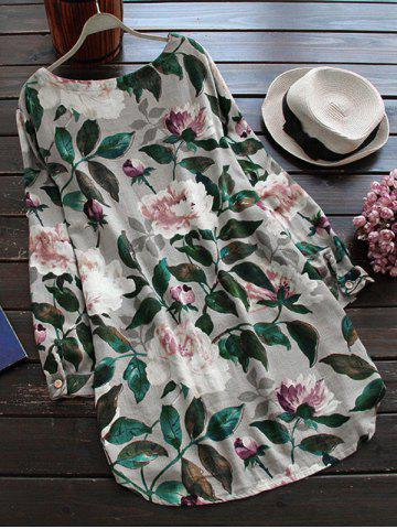 Unique Linen Floral Printed Shirt Dress with Sleeves - L GRAY Mobile
