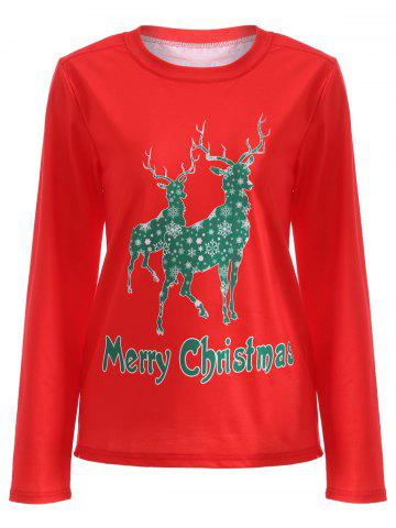 Latest Elk Pattern Christmas T-Shirt RED XL