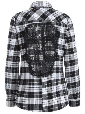 Online Lace Panel Long Sleeve Skull Gingham Plaid Shirt WHITE AND BLACK 4XL