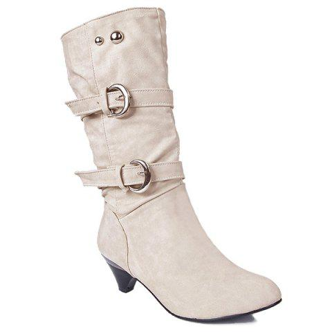 Latest Metallic Slip On Buckle Suede Mid Calf Boots OFF WHITE 40