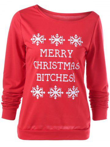 Discount Merry Christmas Bitches Graphic Sweatshirt RED L