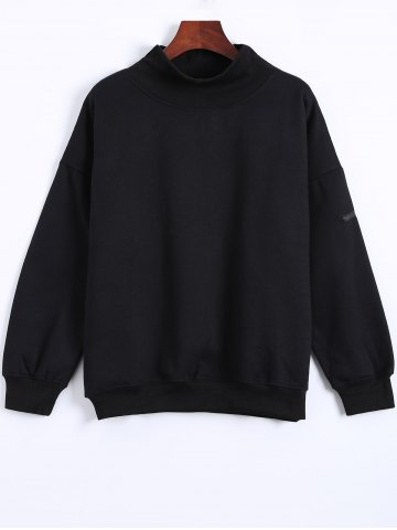 Sale Turtle Neck Patch Sweatshirt - ONE SIZE BLACK Mobile