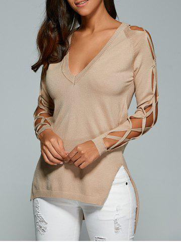 Shop V Neck Cutout Sleeve Sweater - ONE SIZE NUDE Mobile