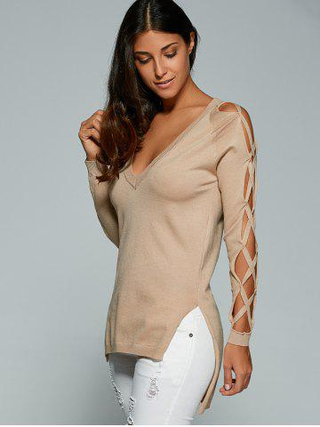 Hot V Neck Cutout Sleeve Sweater - ONE SIZE NUDE Mobile