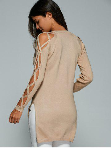 Discount V Neck Cutout Sleeve Sweater - ONE SIZE NUDE Mobile