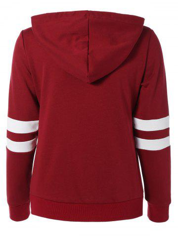 Buy Long Sleeve Sports Color Block Hoodie - M RED Mobile