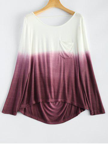 Affordable Backless Long Sleeve Ombre Color T-Shirt