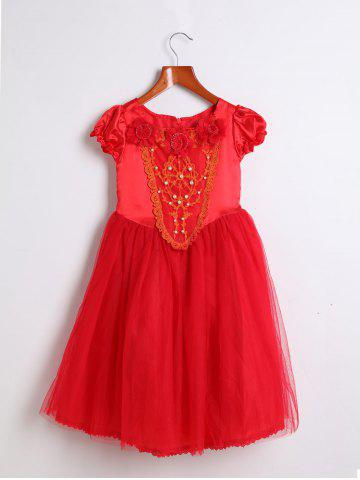 Sweet Short Sleeve Square Neck Beaded Dress + Hooded Cape Girl's Twinset - Red - 150