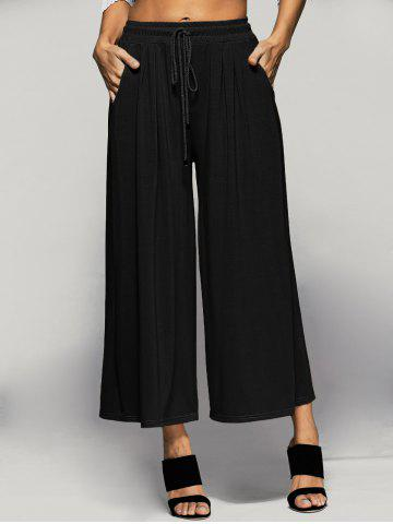 Hot Elastic Waist Palazzo Pants with Pockets - XL BLACK Mobile