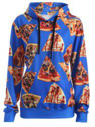 Pullover Pizza 3D Print Hoodie - BLUE XL
