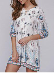Lace-Up Tribal Pattern Crochet Smock Dress