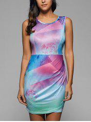 Rainbow Print Sleeveless Bodycon Dress