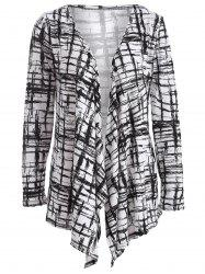 Autumn Scrawl Plaid Print Irregular Cardigan - BLACK XL