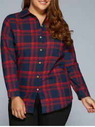 Plus Size Long Sleeve Plaid Flannel Shirt - RED 4XL