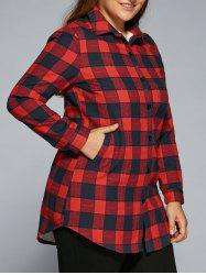Plus Size Fleece Flannel Plaid Shirt - RED 4XL