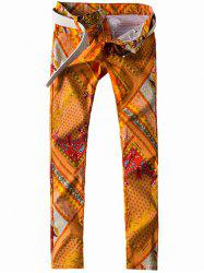Zipper Fly Paisley and Geometric Print Straight Leg Jeans -