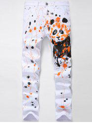 Zipper Fly Splash-Ink Panda Print Straight Leg Jeans -
