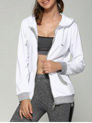 Zip Up Drawstring Hoodie With Pockets -