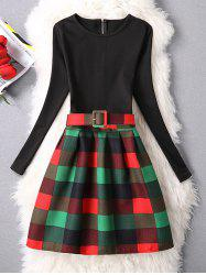 Belted Checked A-Line Dress - GREEN XL