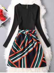 Zipper Striped A-Line Dress