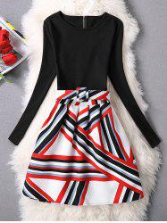 Coloful Printed A-Line Dress - RED
