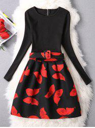 Butterfly Belted A-Line Dress - RED L