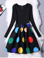 Colorful Polka Dot Long Sleeve Dress