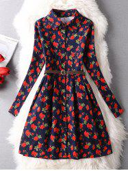 Vintage Floral Belted Shirt Dress -