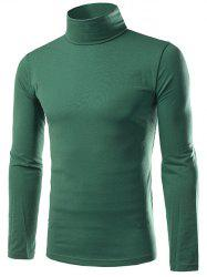 Turtleneck Long Sleeve Plain T-Shirt