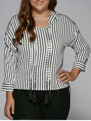 Plus Size Tassel High Low Hem Striped Blouse
